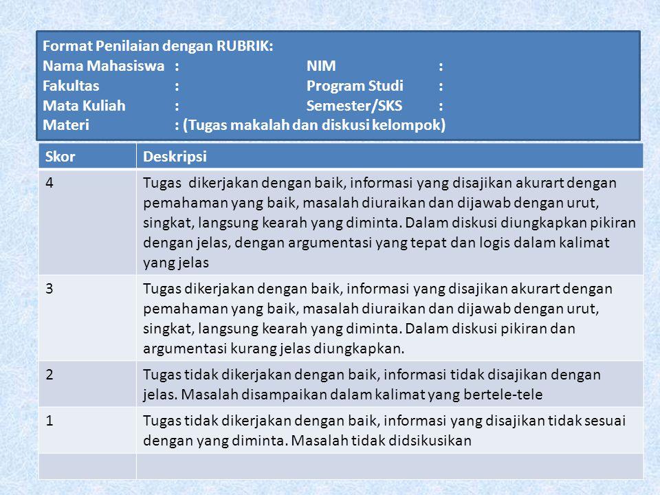 Format Penilaian dengan RUBRIK: Nama Mahasiswa : NIM : Fakultas : Program Studi : Mata Kuliah : Semester/SKS : Materi : (Tugas makalah dan diskusi kel