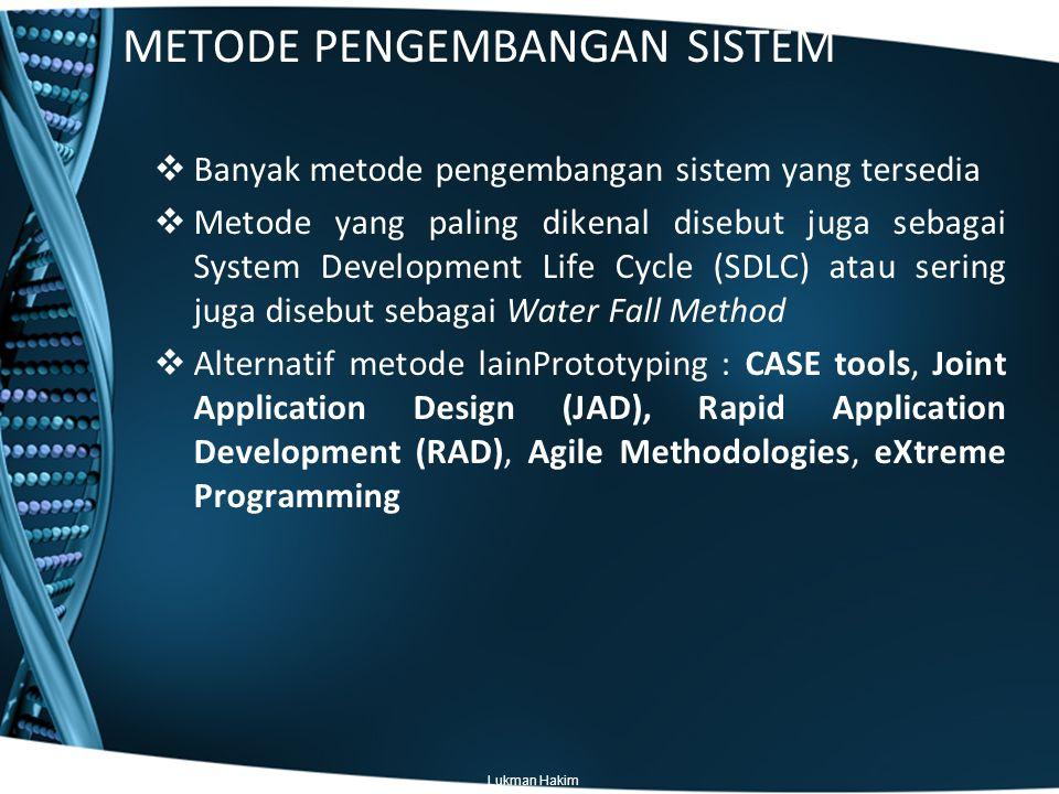 Pendahuluan  Rapid Aplication Development (RAD) Metodologi ini melakukan beberapa penyesuaian terhadap SDLC pada beberapa bagian sehingga lebih cepat untuk sampai ke tangan pengguna.