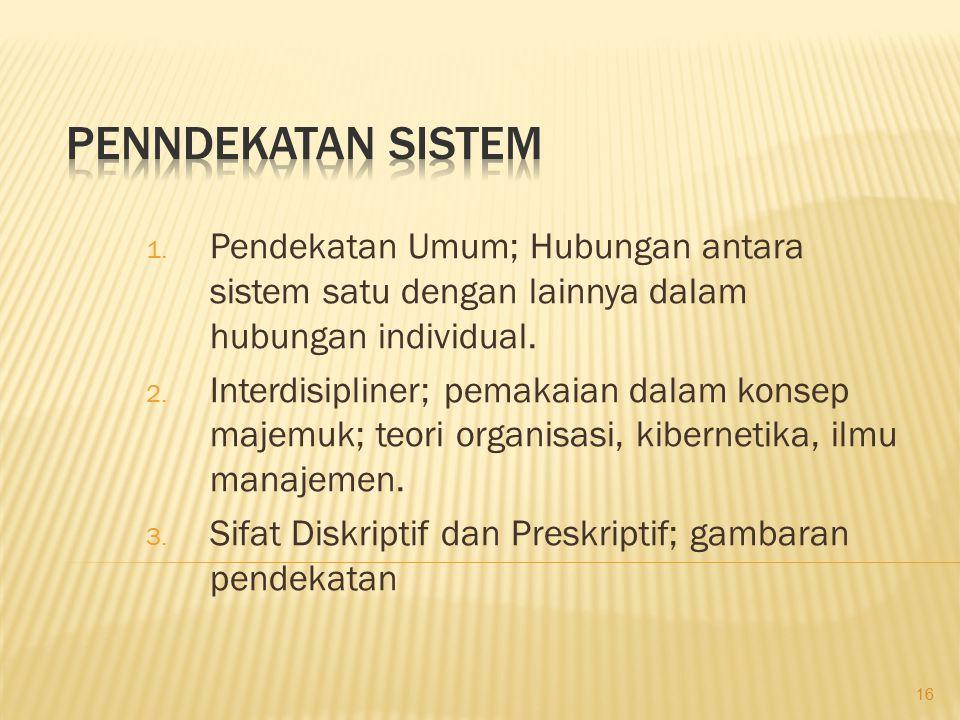 1. Pendekatan Umum; Hubungan antara sistem satu dengan lainnya dalam hubungan individual. 2. Interdisipliner; pemakaian dalam konsep majemuk; teori or