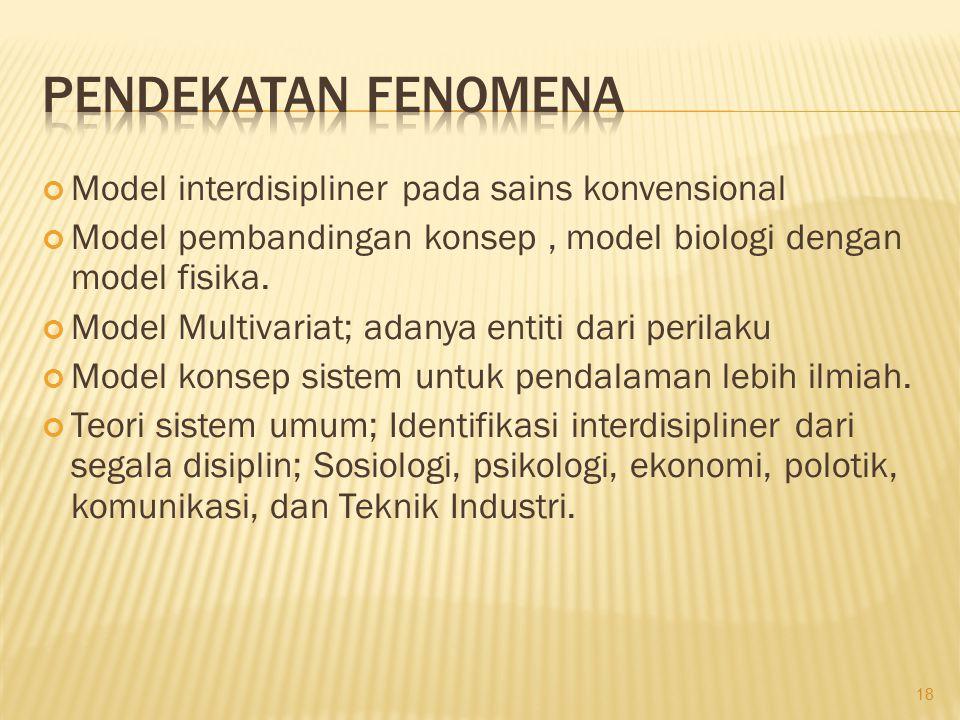 Model interdisipliner pada sains konvensional Model pembandingan konsep, model biologi dengan model fisika. Model Multivariat; adanya entiti dari peri