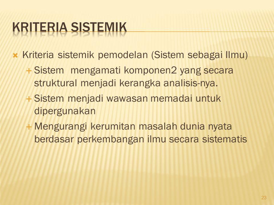  Kriteria sistemik pemodelan (Sistem sebagai Ilmu)  Sistem mengamati komponen2 yang secara struktural menjadi kerangka analisis-nya.  Sistem menjad