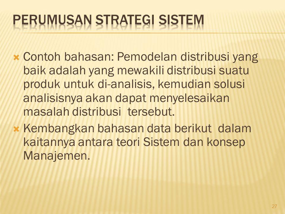  Contoh bahasan: Pemodelan distribusi yang baik adalah yang mewakili distribusi suatu produk untuk di-analisis, kemudian solusi analisisnya akan dapa