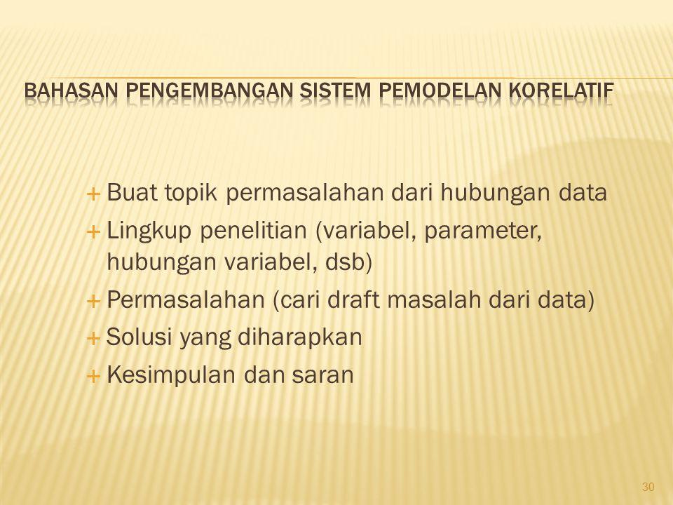  Buat topik permasalahan dari hubungan data  Lingkup penelitian (variabel, parameter, hubungan variabel, dsb)  Permasalahan (cari draft masalah dar