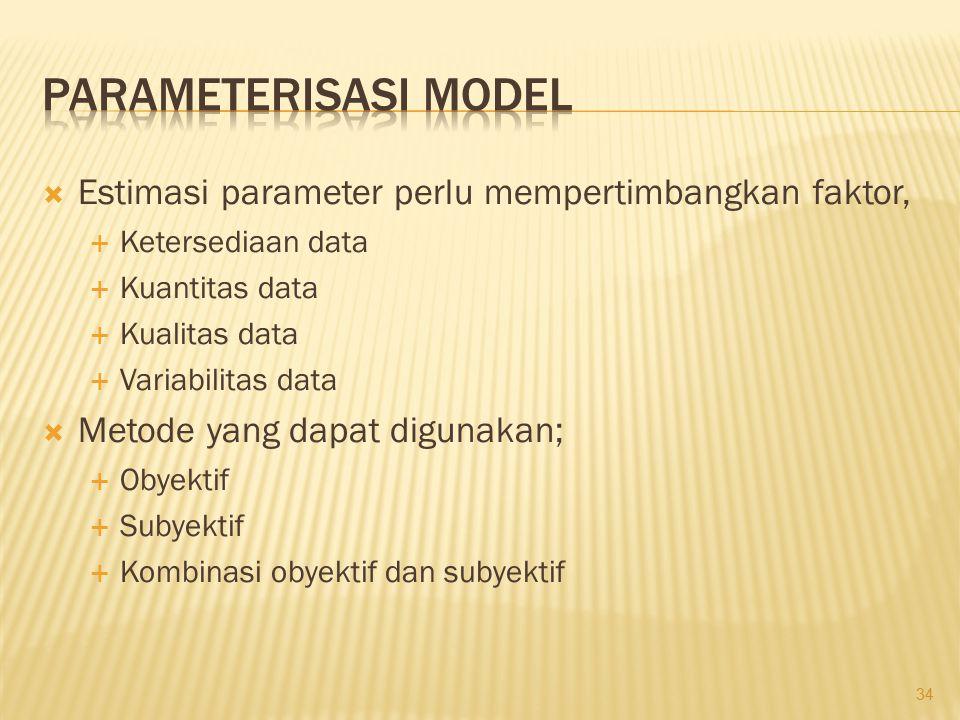  Estimasi parameter perlu mempertimbangkan faktor,  Ketersediaan data  Kuantitas data  Kualitas data  Variabilitas data  Metode yang dapat digun