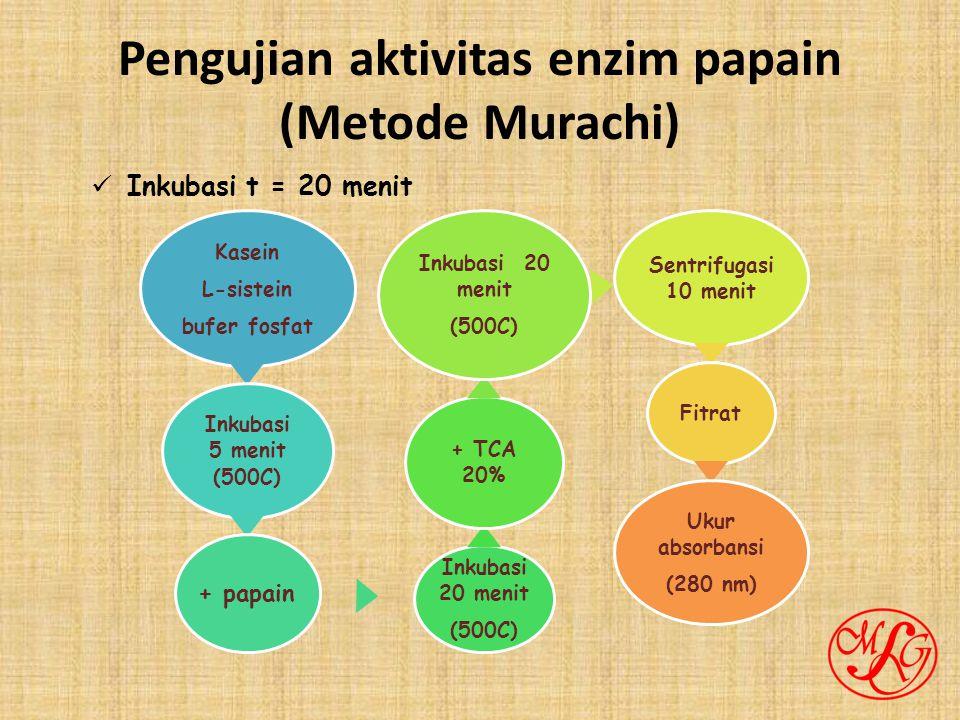 Pengujian aktivitas enzim papain (Metode Murachi) Kasein L-sistein bufer fosfat Inkubasi 5 menit (500C) + papain Inkubasi 20 menit (500C) + TCA 20% Inkubasi 20 menit (500C) Sentrifugasi 10 menit Fitrat Ukur absorbansi (280 nm) Inkubasi t = 20 menit