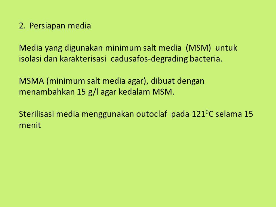 2.Persiapan media Media yang digunakan minimum salt media (MSM) untuk isolasi dan karakterisasi cadusafos-degrading bacteria. MSMA (minimum salt media