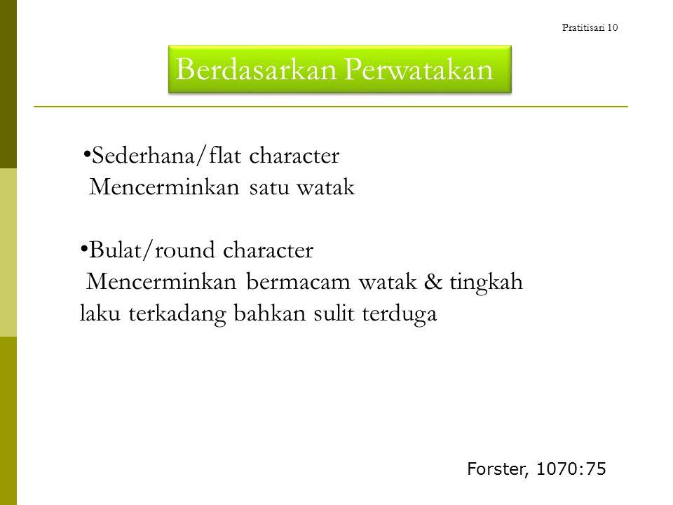 Berdasarkan Perwatakan Sederhana/flat character Mencerminkan satu watak Bulat/round character Mencerminkan bermacam watak & tingkah laku terkadang bahkan sulit terduga Forster, 1070:75 Pratitisari 10