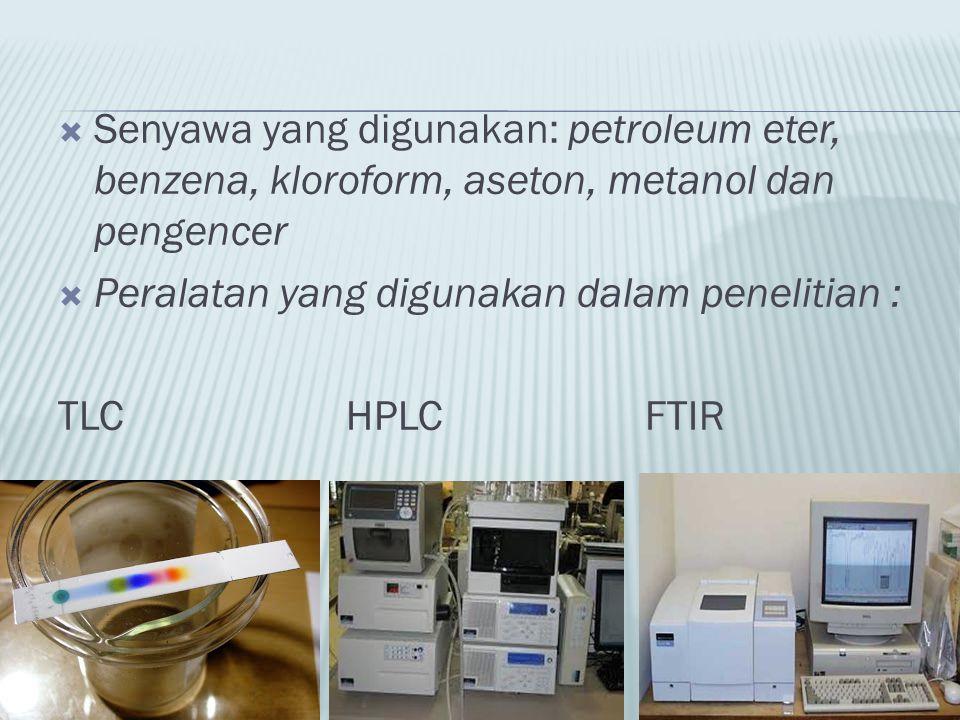  Senyawa yang digunakan: petroleum eter, benzena, kloroform, aseton, metanol dan pengencer  Peralatan yang digunakan dalam penelitian : TLC HPLC FTI