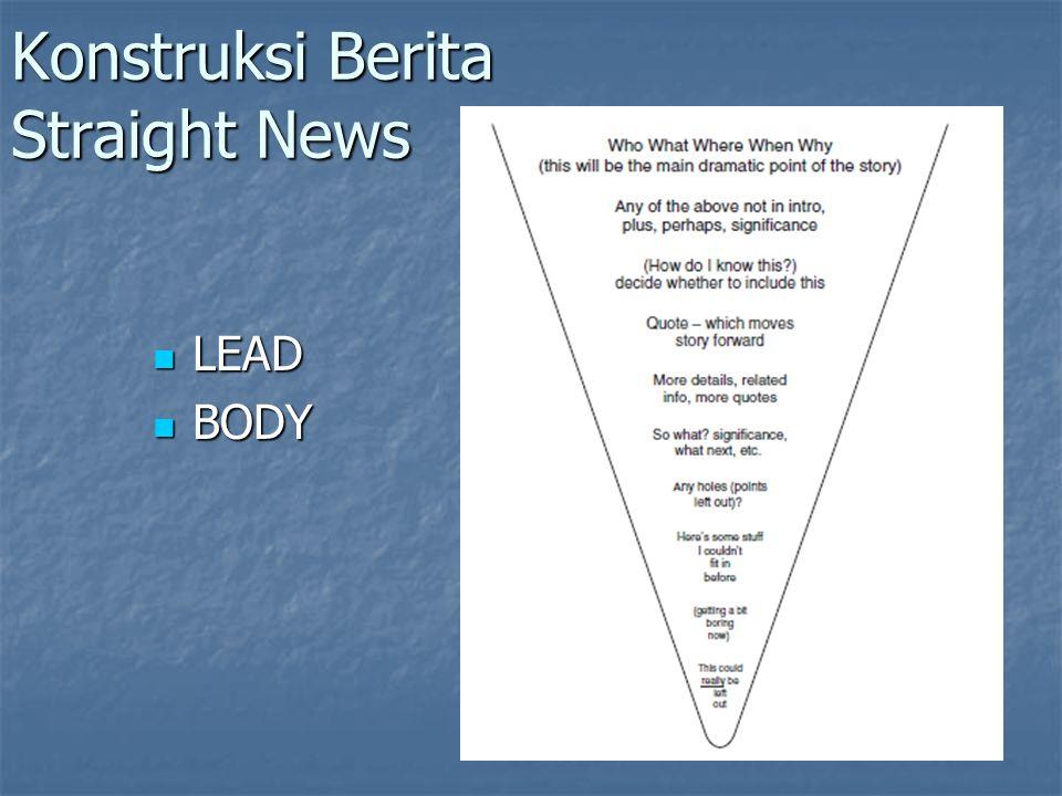 Konstruksi Berita Straight News LEAD LEAD BODY BODY