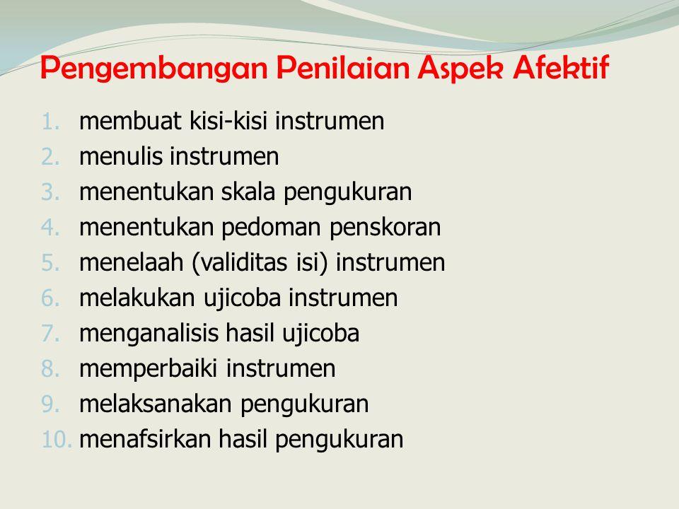Pengembangan Penilaian Aspek Afektif 1. membuat kisi-kisi instrumen 2. menulis instrumen 3. menentukan skala pengukuran 4. menentukan pedoman penskora
