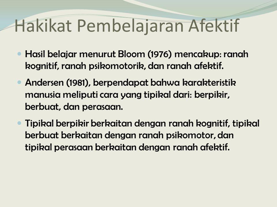 Hakikat Pembelajaran Afektif Hasil belajar menurut Bloom (1976) mencakup: ranah kognitif, ranah psikomotorik, dan ranah afektif.