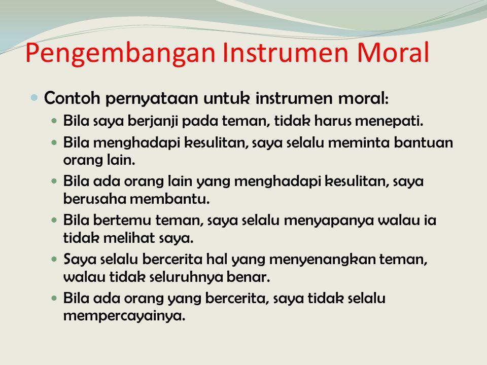 Pengembangan Instrumen Moral Contoh pernyataan untuk instrumen moral: Bila saya berjanji pada teman, tidak harus menepati. Bila menghadapi kesulitan,