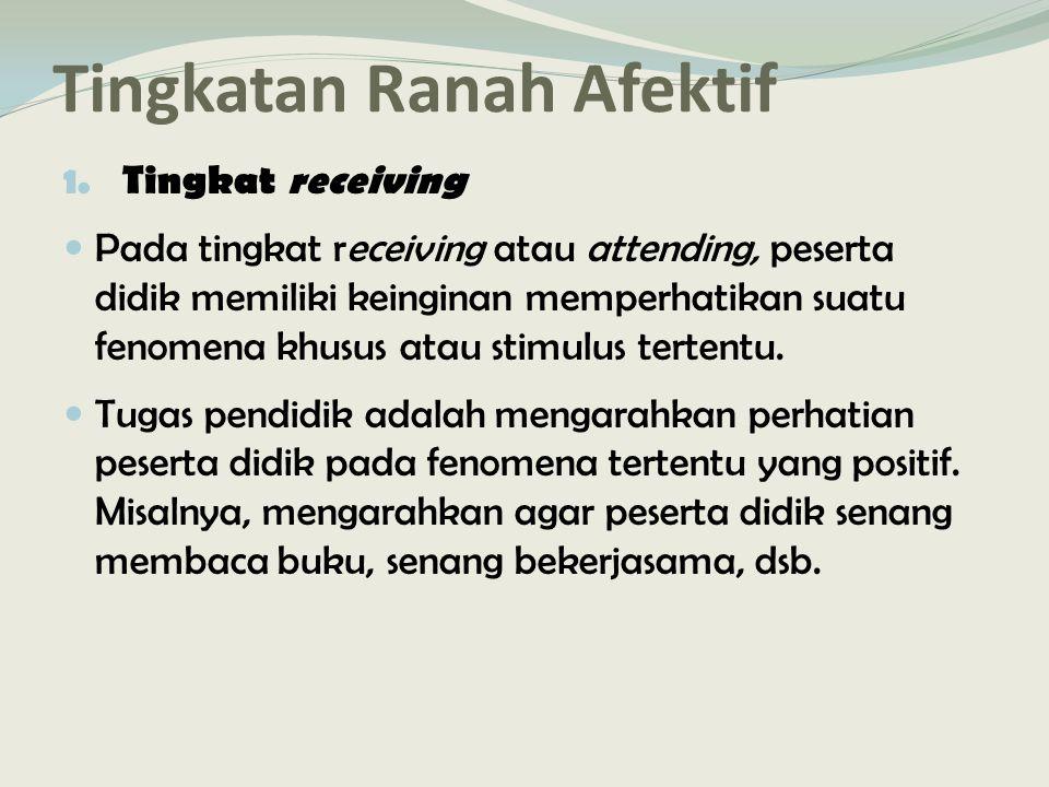Tingkatan Ranah Afektif 1.