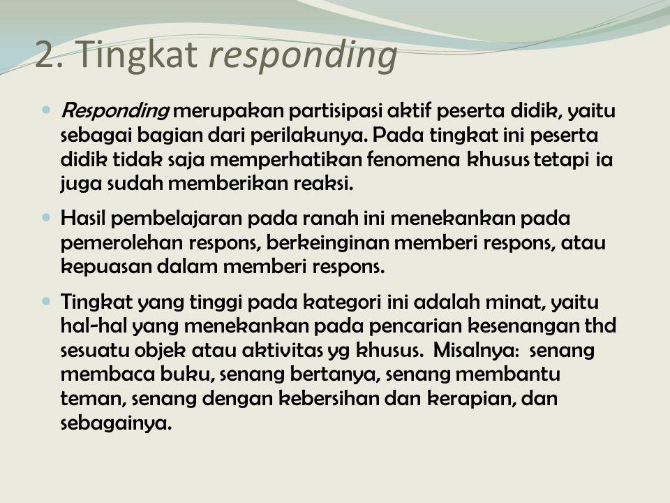 2. Tingkat responding Responding merupakan partisipasi aktif peserta didik, yaitu sebagai bagian dari perilakunya. Pada tingkat ini peserta didik tida