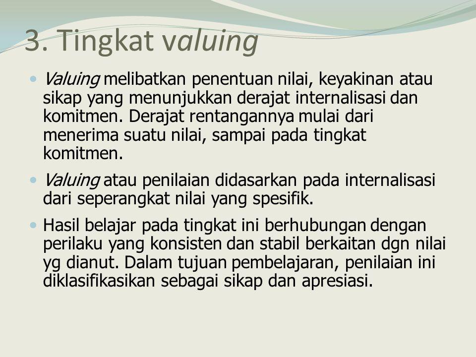 3. Tingkat valuing Valuing melibatkan penentuan nilai, keyakinan atau sikap yang menunjukkan derajat internalisasi dan komitmen. Derajat rentangannya
