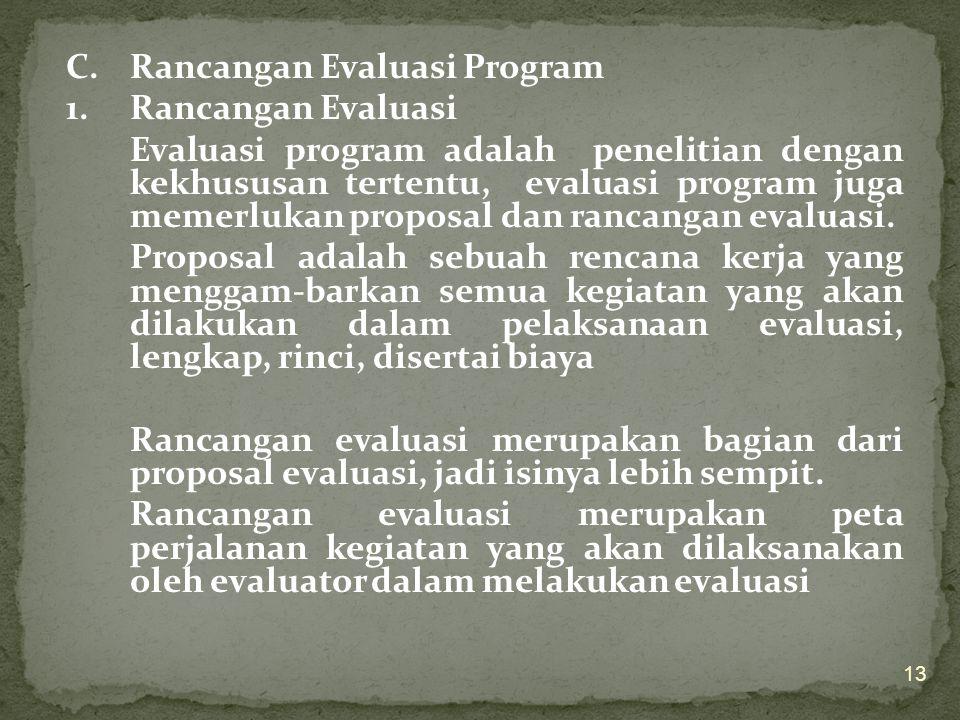 3. Model untuk Program Layanan 4. Model untuk Program Umum Evaluasi terhadap program umum dilakukan terhadap komponen program, yang secara rinci diura