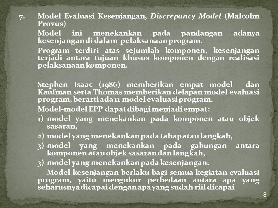 7.Model Evaluasi Kesenjangan, Discrepancy Model (Malcolm Provus) Model ini menekankan pada pandangan adanya kesenjangan di dalam pelaksanaan program.