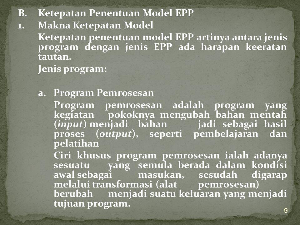 B.Ketepatan Penentuan Model EPP 1.