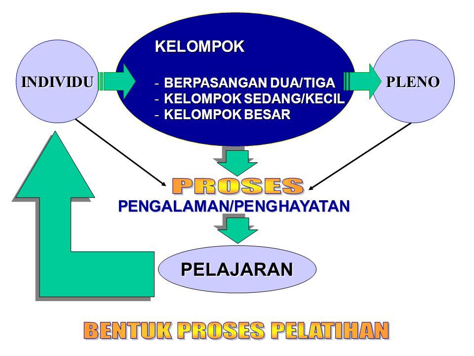 KELOMPOK -BERPASANGAN DUA/TIGA -KELOMPOK SEDANG/KECIL -KELOMPOK BESAR INDIVIDUPLENO PENGALAMAN/PENGHAYATAN PELAJARAN