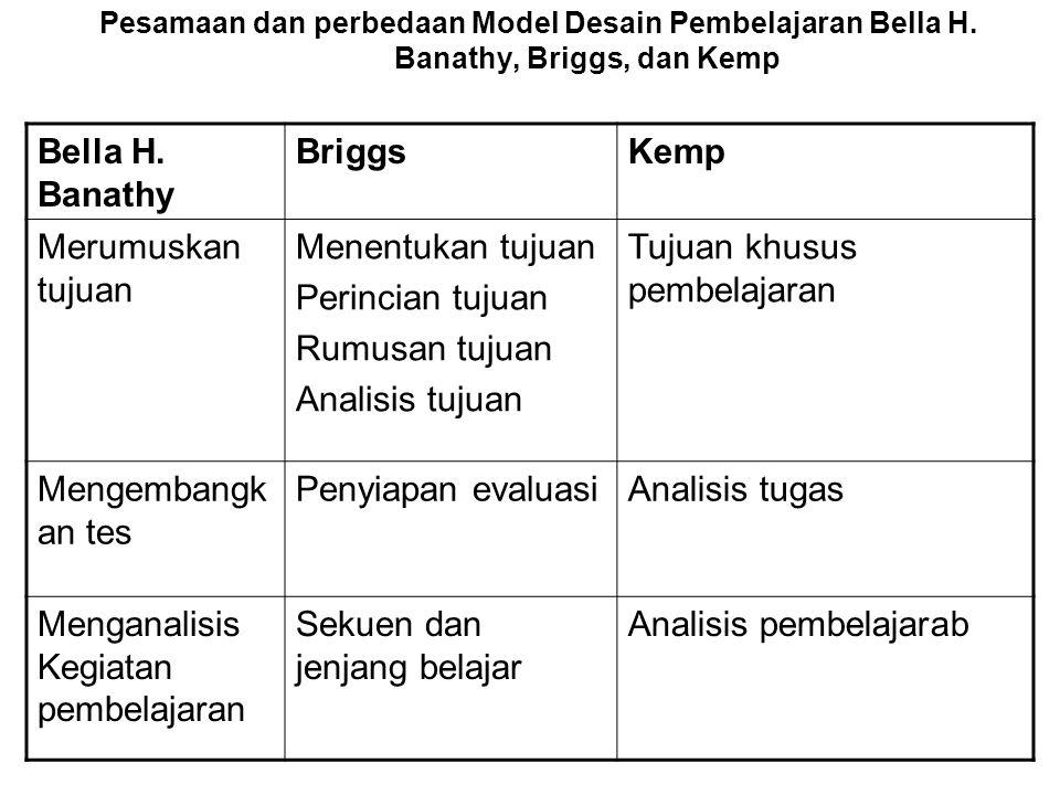 Pesamaan dan perbedaan Model Desain Pembelajaran Bella H. Banathy, Briggs, dan Kemp Bella H. Banathy BriggsKemp Merumuskan tujuan Menentukan tujuan Pe