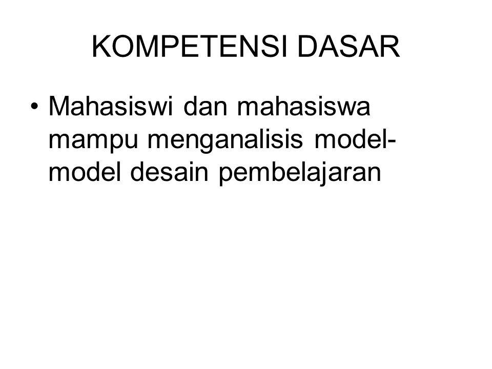 KOMPETENSI DASAR Mahasiswi dan mahasiswa mampu menganalisis model- model desain pembelajaran