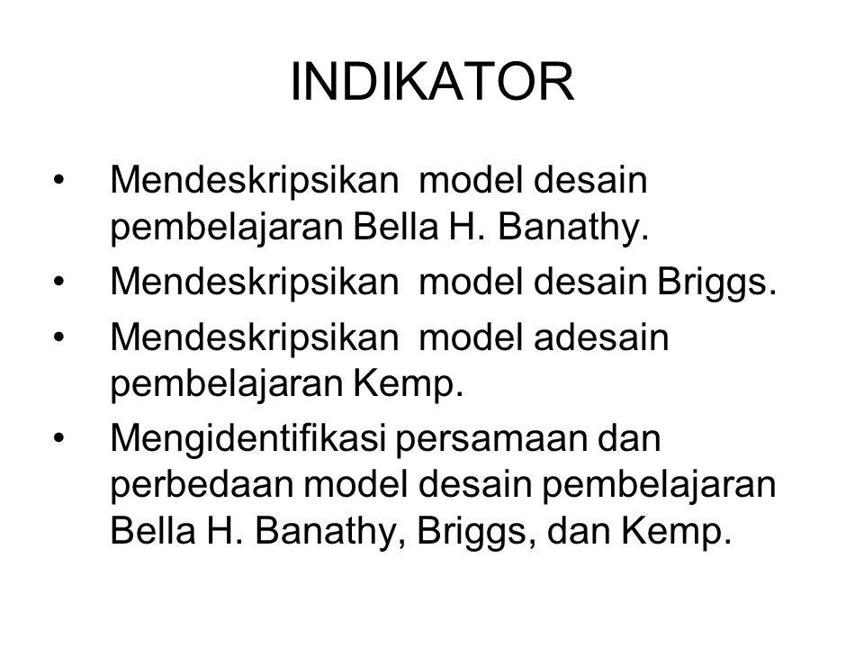 INDIKATOR Mendeskripsikan model desain pembelajaran Bella H. Banathy. Mendeskripsikan model desain Briggs. Mendeskripsikan model adesain pembelajaran