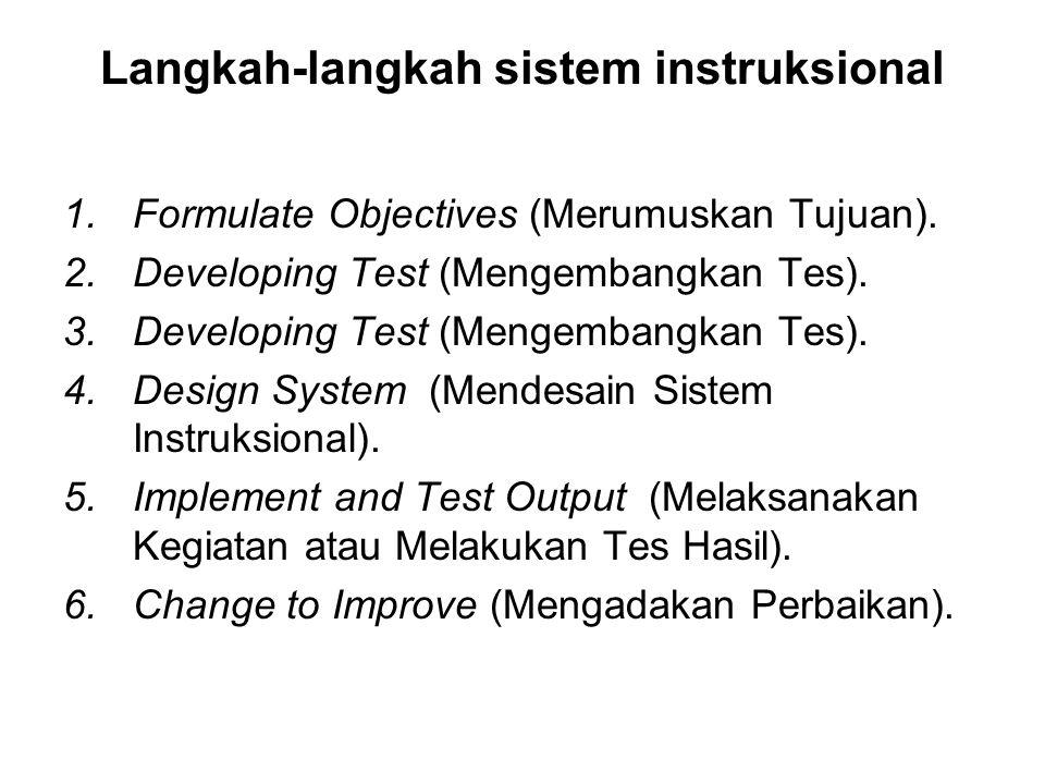 Langkah-langkah sistem instruksional 1.Formulate Objectives (Merumuskan Tujuan). 2.Developing Test (Mengembangkan Tes). 3.Developing Test (Mengembangk