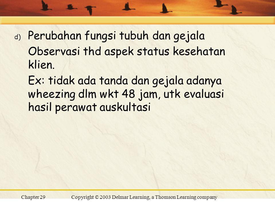 Chapter 29Copyright © 2003 Delmar Learning, a Thomson Learning company d) Perubahan fungsi tubuh dan gejala Observasi thd aspek status kesehatan klien.
