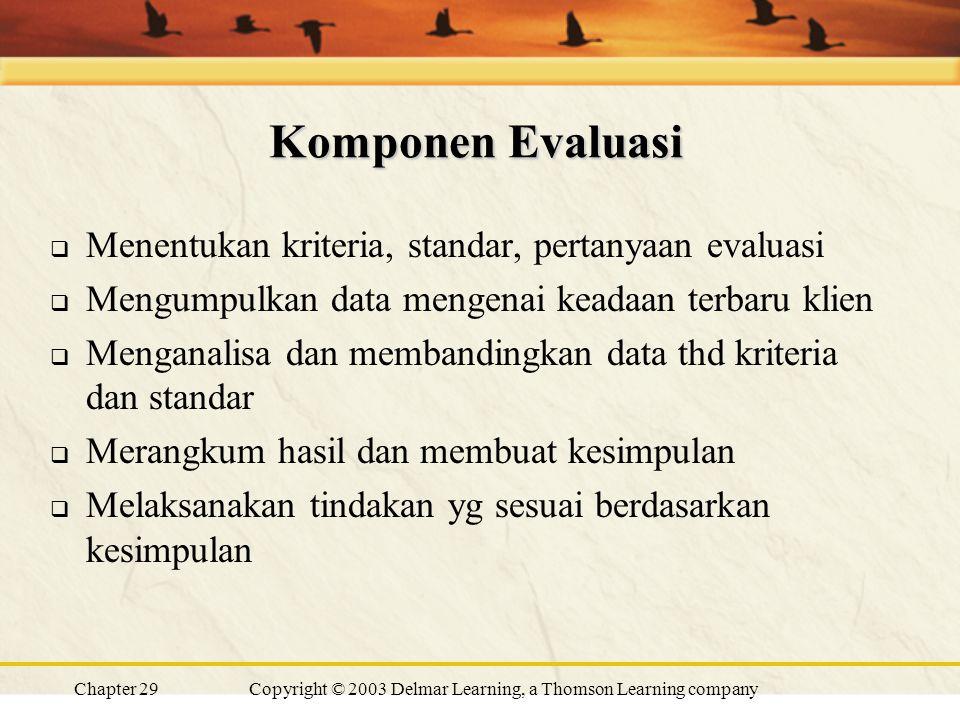 Chapter 29Copyright © 2003 Delmar Learning, a Thomson Learning company Komponen Evaluasi  Menentukan kriteria, standar, pertanyaan evaluasi  Mengumpulkan data mengenai keadaan terbaru klien  Menganalisa dan membandingkan data thd kriteria dan standar  Merangkum hasil dan membuat kesimpulan  Melaksanakan tindakan yg sesuai berdasarkan kesimpulan