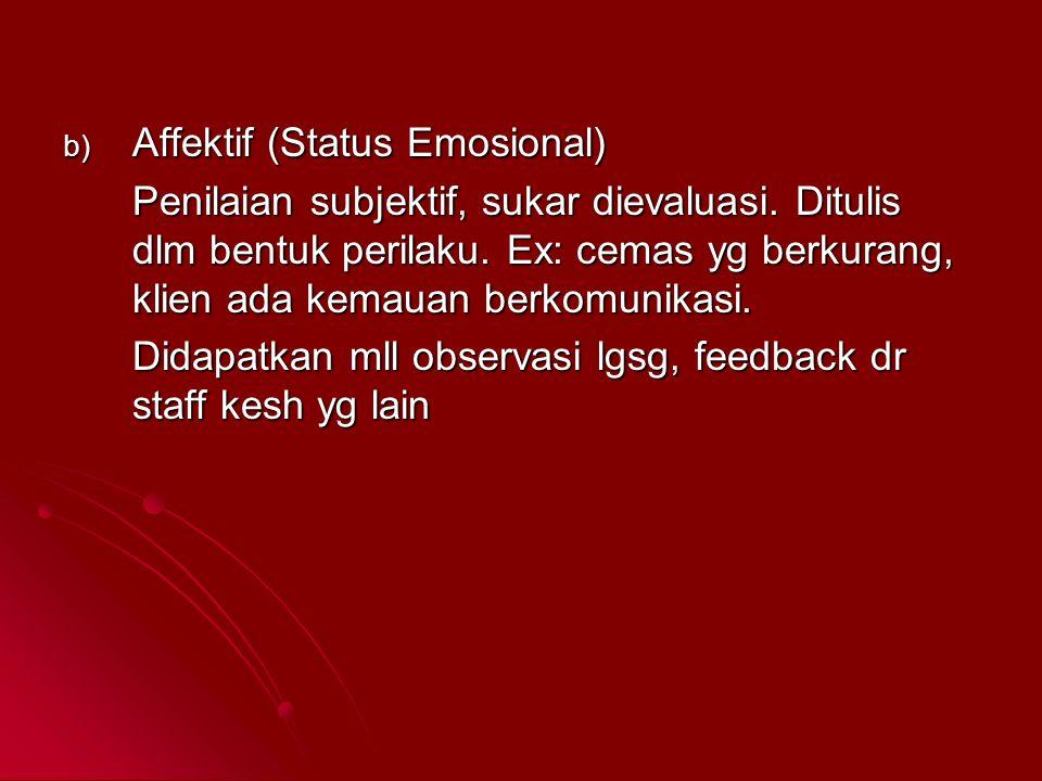 b) Affektif (Status Emosional) Penilaian subjektif, sukar dievaluasi. Ditulis dlm bentuk perilaku. Ex: cemas yg berkurang, klien ada kemauan berkomuni