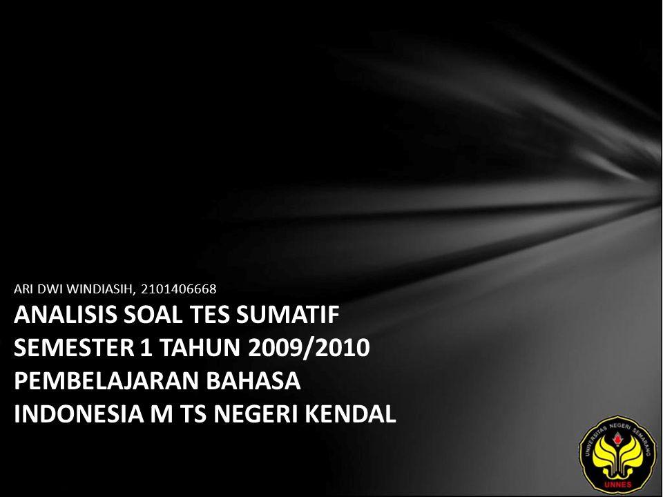 Identitas Mahasiswa - NAMA : ARI DWI WINDIASIH - NIM : 2101406668 - PRODI : Pendidikan Bahasa, Sastra Indonesia, dan Daerah (Pendidikan Bahasa dan Sastra Indonesia) - JURUSAN : Bahasa & Sastra Indonesia - FAKULTAS : Bahasa dan Seni - EMAIL : windi2 pada domain yahoo.ac.id - PEMBIMBING 1 : Drs.Wagiran,M.Hum.