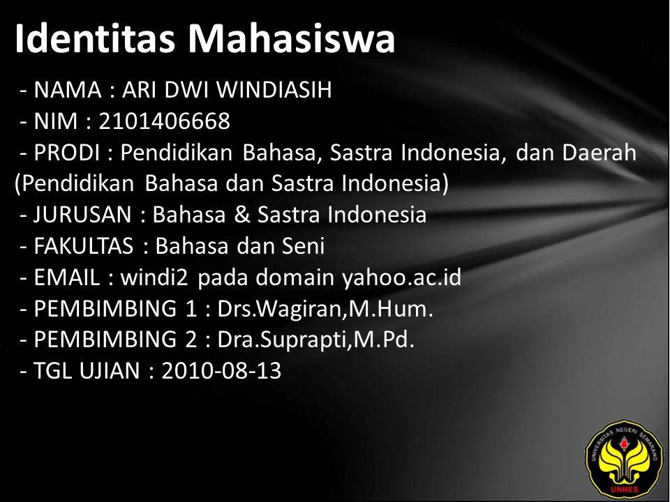 Identitas Mahasiswa - NAMA : ARI DWI WINDIASIH - NIM : 2101406668 - PRODI : Pendidikan Bahasa, Sastra Indonesia, dan Daerah (Pendidikan Bahasa dan Sas