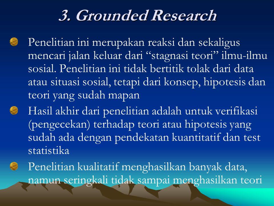 """3. Grounded Research Penelitian ini merupakan reaksi dan sekaligus mencari jalan keluar dari """"stagnasi teori"""" ilmu-ilmu sosial. Penelitian ini tidak b"""