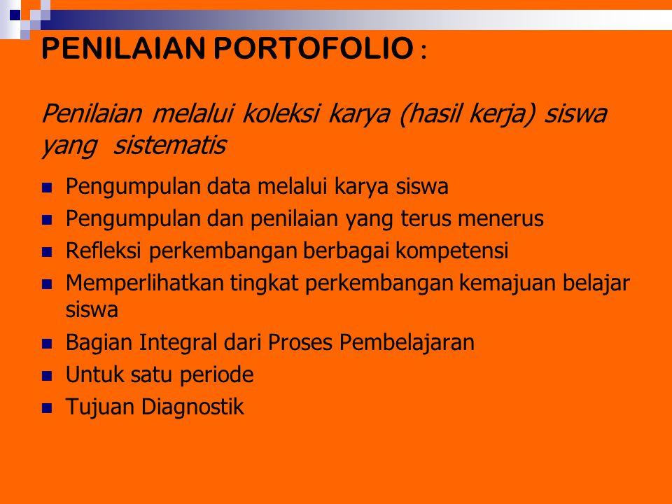 PENILAIAN PORTOFOLIO : Penilaian melalui koleksi karya (hasil kerja) siswa yang sistematis Pengumpulan data melalui karya siswa Pengumpulan dan penila