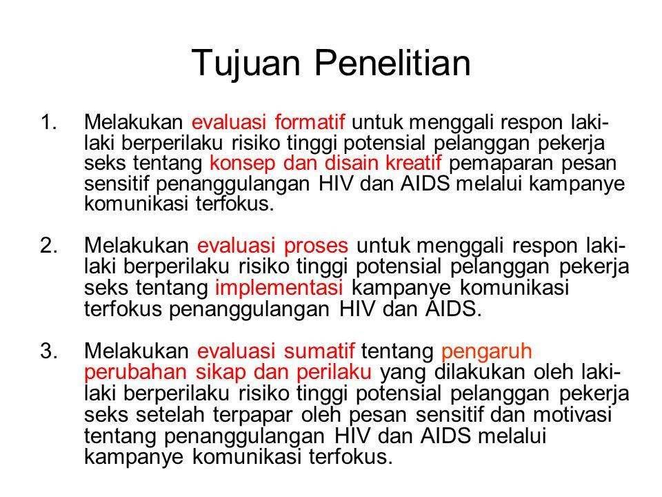 Tujuan Penelitian 1.Melakukan evaluasi formatif untuk menggali respon laki- laki berperilaku risiko tinggi potensial pelanggan pekerja seks tentang konsep dan disain kreatif pemaparan pesan sensitif penanggulangan HIV dan AIDS melalui kampanye komunikasi terfokus.