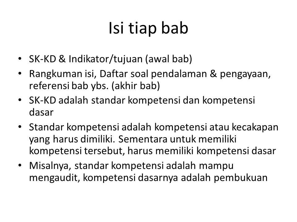 Isi tiap bab SK-KD & Indikator/tujuan (awal bab) Rangkuman isi, Daftar soal pendalaman & pengayaan, referensi bab ybs. (akhir bab) SK-KD adalah standa
