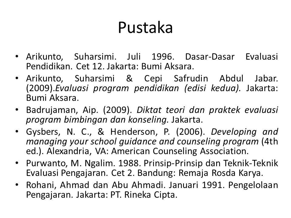 Pustaka Arikunto, Suharsimi.Juli 1996. Dasar-Dasar Evaluasi Pendidikan.