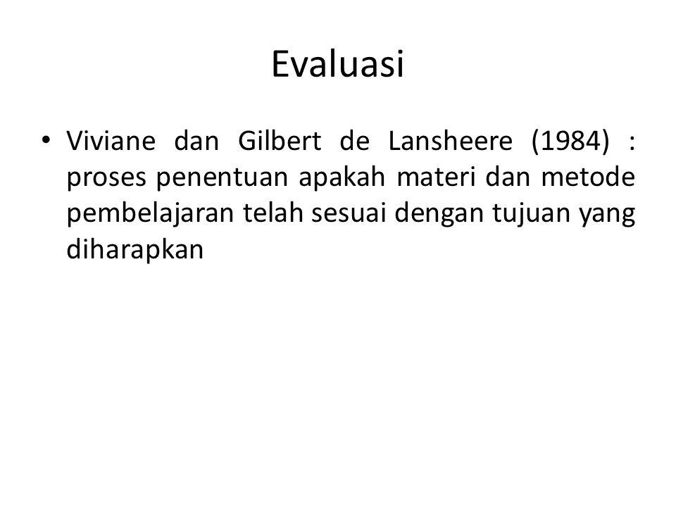 Evaluasi Viviane dan Gilbert de Lansheere (1984) : proses penentuan apakah materi dan metode pembelajaran telah sesuai dengan tujuan yang diharapkan