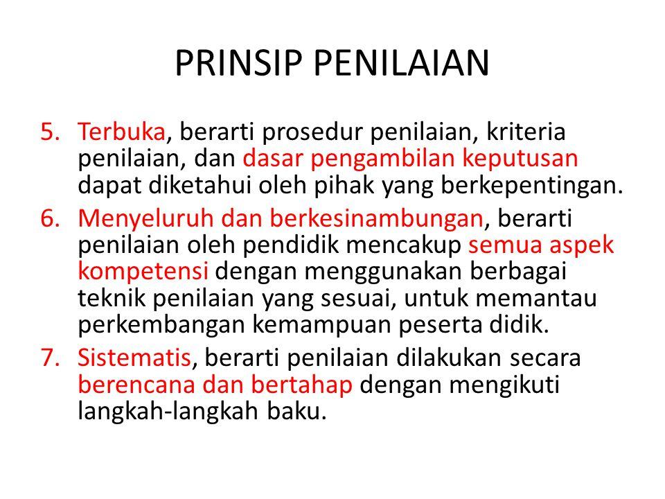 PRINSIP PENILAIAN 8.Beracuan kriteria, berarti penilaian didasarkan pada ukuran pencapaian kompetensi yang ditetapkan.