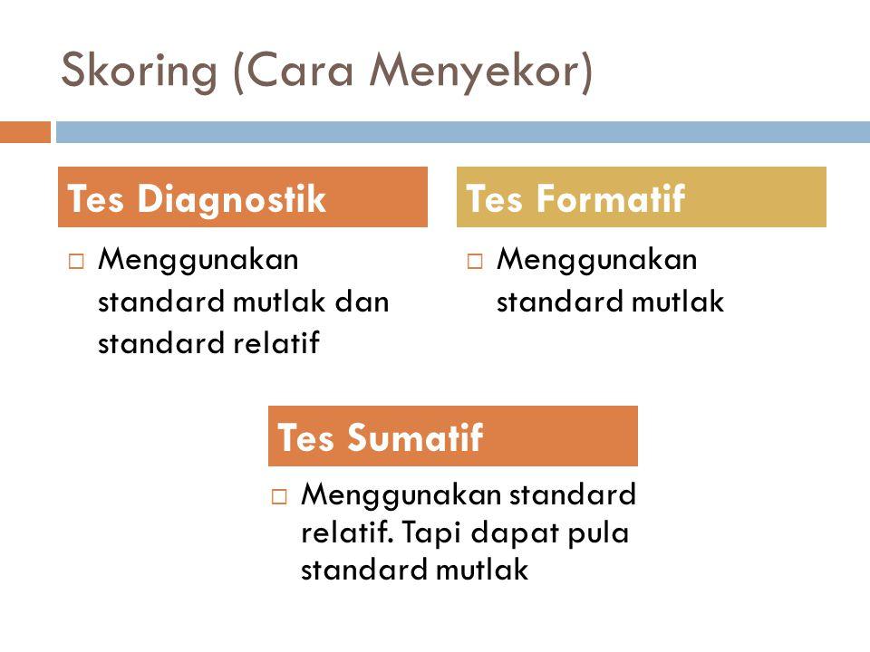 Skoring (Cara Menyekor)  Menggunakan standard mutlak dan standard relatif  Menggunakan standard mutlak Tes DiagnostikTes Formatif Tes Sumatif  Meng