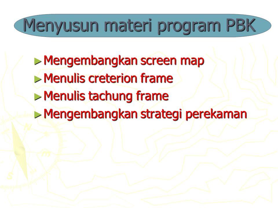 Menyusun materi program PBK ► Mengembangkan screen map ► Menulis creterion frame ► Menulis tachung frame ► Mengembangkan strategi perekaman
