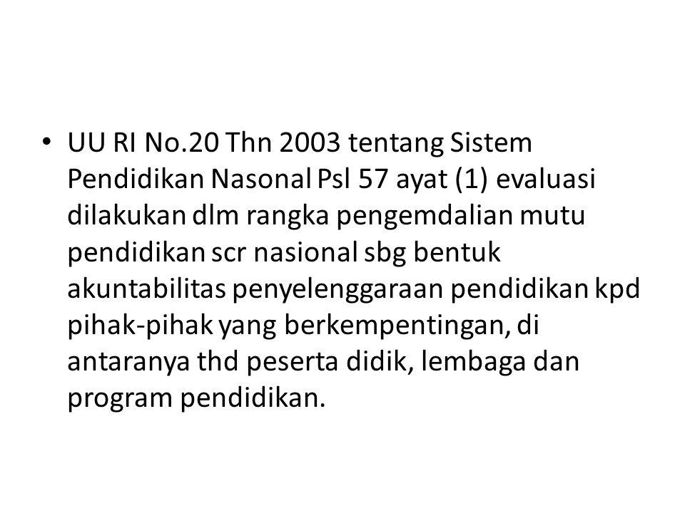 UU RI No.20 Thn 2003 tentang Sistem Pendidikan Nasonal Psl 57 ayat (1) evaluasi dilakukan dlm rangka pengemdalian mutu pendidikan scr nasional sbg ben