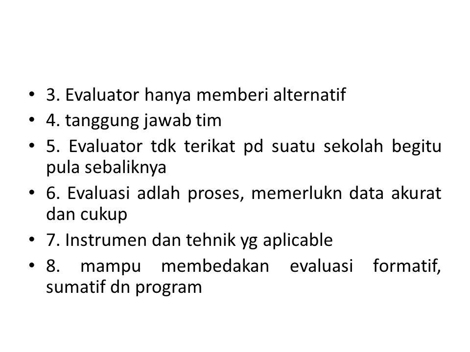 3. Evaluator hanya memberi alternatif 4. tanggung jawab tim 5. Evaluator tdk terikat pd suatu sekolah begitu pula sebaliknya 6. Evaluasi adlah proses,