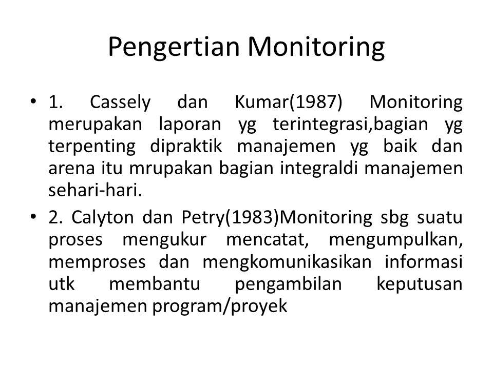 Pengertian Monitoring 1. Cassely dan Kumar(1987) Monitoring merupakan laporan yg terintegrasi,bagian yg terpenting dipraktik manajemen yg baik dan are