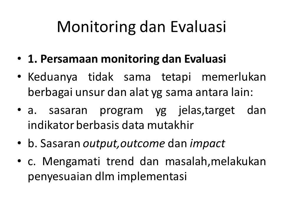 Monitoring dan Evaluasi 1. Persamaan monitoring dan Evaluasi Keduanya tidak sama tetapi memerlukan berbagai unsur dan alat yg sama antara lain: a. sas
