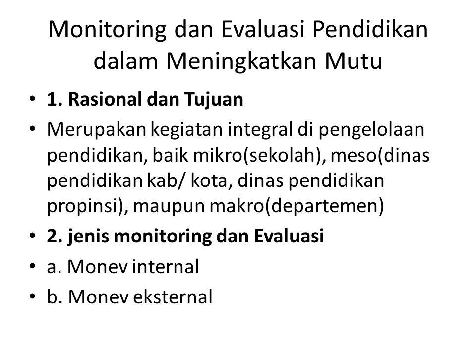 Monitoring dan Evaluasi Pendidikan dalam Meningkatkan Mutu 1. Rasional dan Tujuan Merupakan kegiatan integral di pengelolaan pendidikan, baik mikro(se