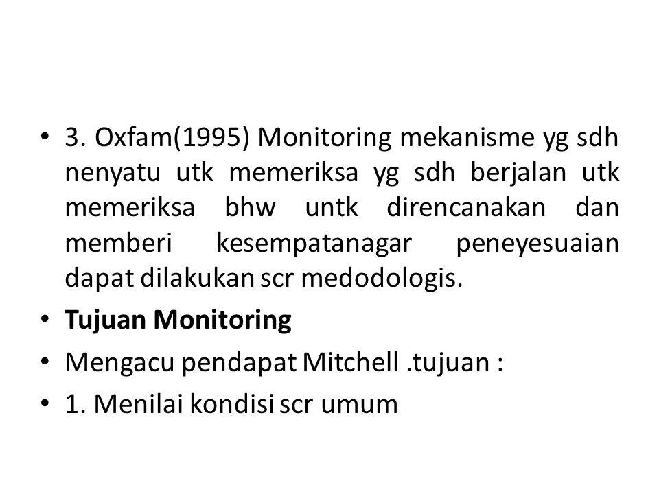 3. Oxfam(1995) Monitoring mekanisme yg sdh nenyatu utk memeriksa yg sdh berjalan utk memeriksa bhw untk direncanakan dan memberi kesempatanagar peneye