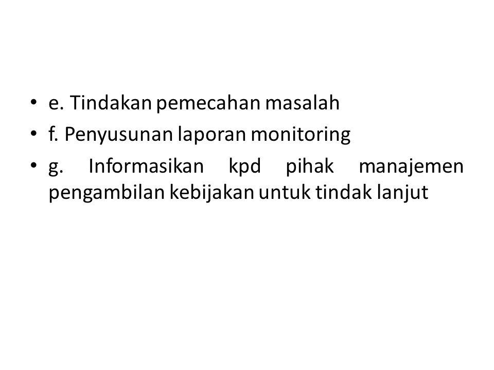 e. Tindakan pemecahan masalah f. Penyusunan laporan monitoring g. Informasikan kpd pihak manajemen pengambilan kebijakan untuk tindak lanjut