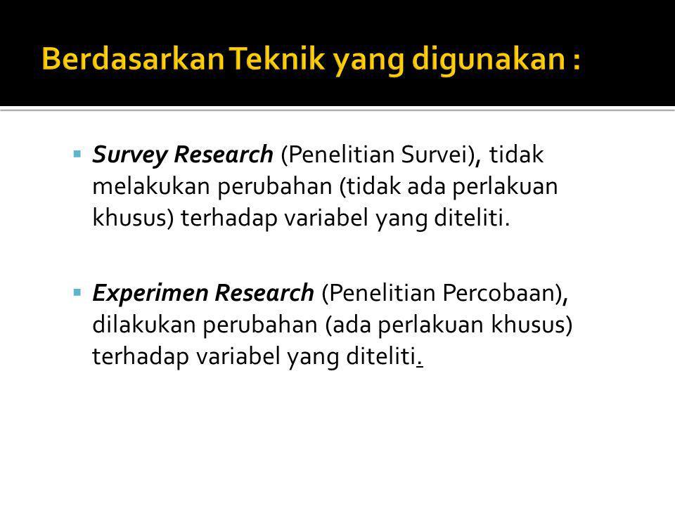  Survey Research (Penelitian Survei), tidak melakukan perubahan (tidak ada perlakuan khusus) terhadap variabel yang diteliti.  Experimen Research (P