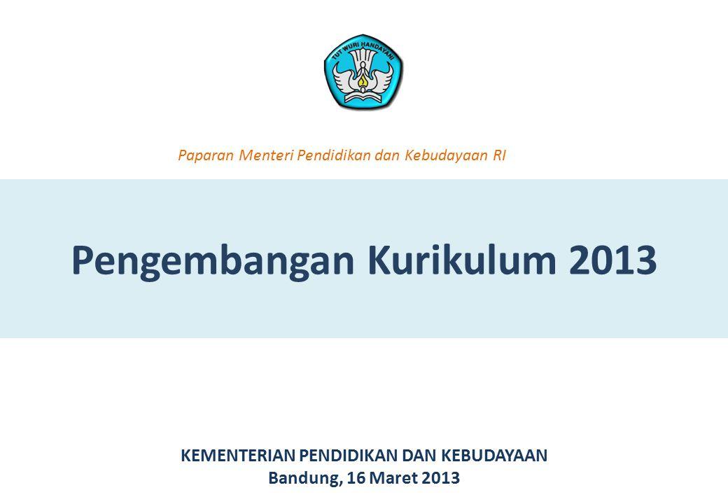 Pengembangan Kurikulum 2013 KEMENTERIAN PENDIDIKAN DAN KEBUDAYAAN Bandung, 16 Maret 2013 Paparan Menteri Pendidikan dan Kebudayaan RI